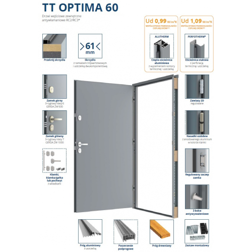 GERDA drzwi RC2N TT OPTIMA 60 NS1 MILANO 8