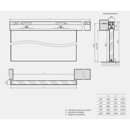 DRE system przesuwny naścienny SPAZIO CD do drzwi drewnianych